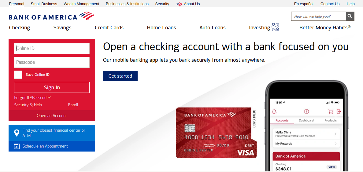 bank of america credit card services login