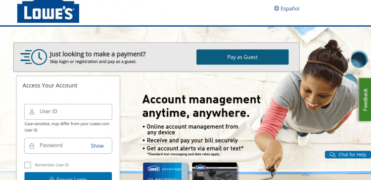 synchrony bank lowes account